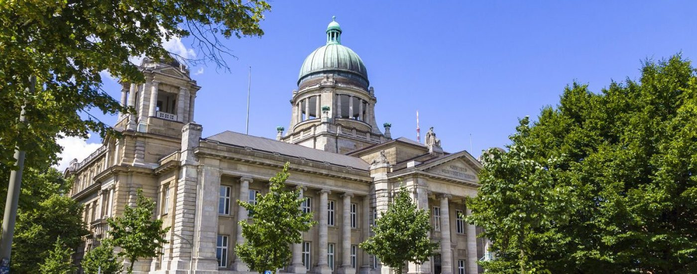 Building of The Hanseatic Higher Regional Court (Hanseatisches Oberlandesgericht) (HansOLG) of the City of Hamburg, Germany. Located at the square of Sievekingplatz in St. Pauli quarter
