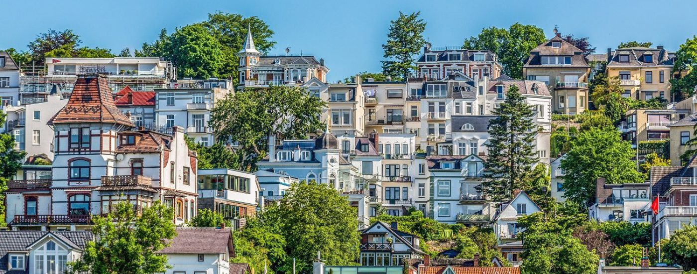 Luxury villas in Blankenese a suburb of Hamburg and close by river Elbe - Germany.