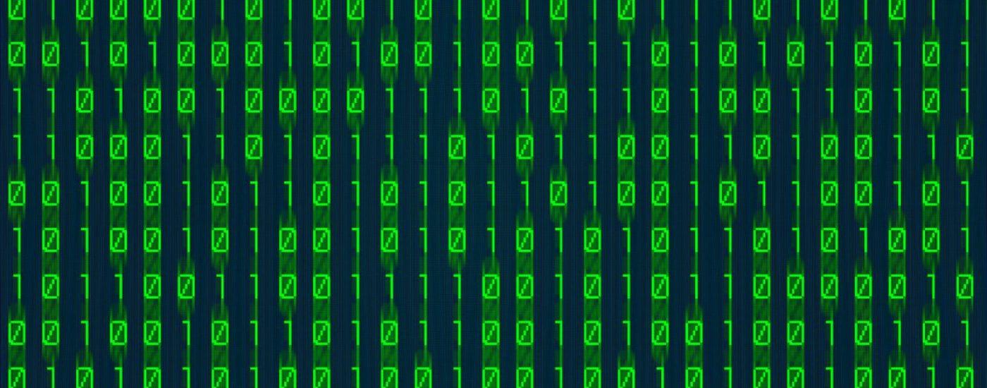 green binary numbers on digital screen background